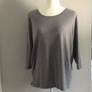 Gray 3/4sleeve Boatneck Knit Top